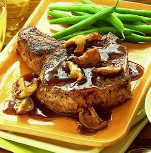 Sage Rubbed Pork Chops With Wild Mushroom Sauce