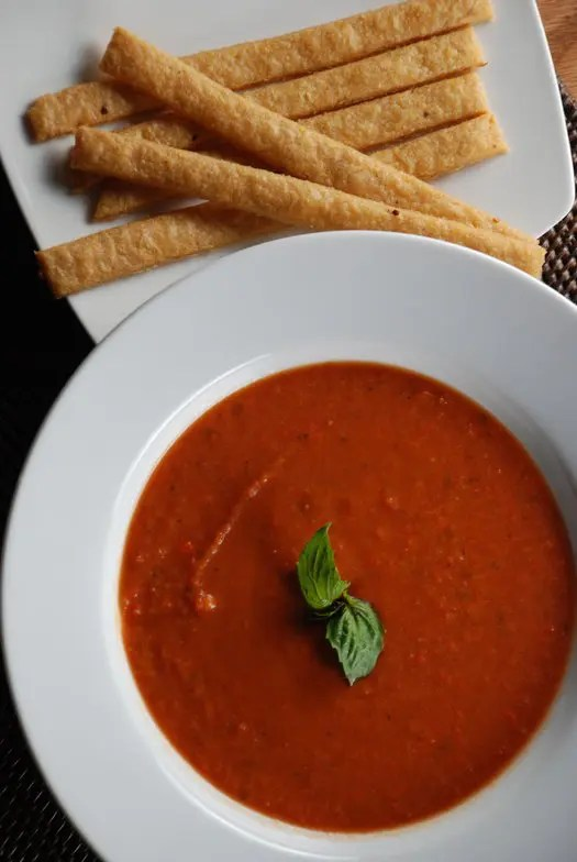 Creamy Tomato Soup and Cheese Straws