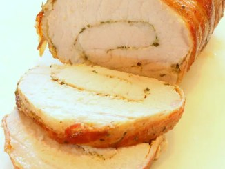 Recipe for Mustard and Herb Stuffed Bacon Wrapped Pork Loin