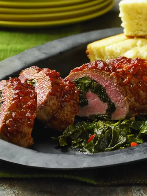 Roasted Pork Tenderloin Stuffed with Braised Collard Greens and Caramelized Onions