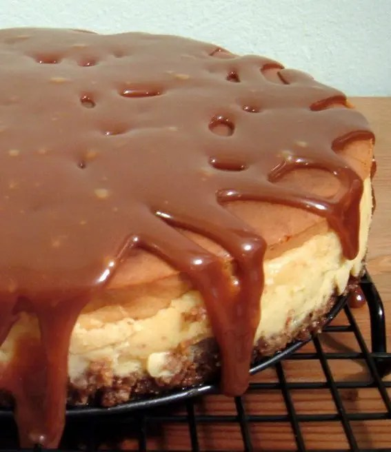 This Banana-Rum Cheesecake with Caramel Sauce has an almond crust, a caramelized banana layer, and a rum-cheesecake layer. Then all of that is smothered in caramel! YUM!