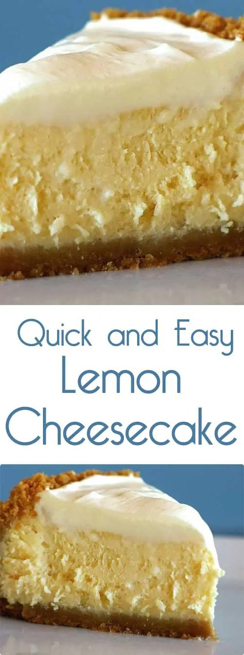 A quick and easy lemon cheesecake recipe that tastes light and bright; just like spring! #cheesecakerecipe #springbaking #easydessert
