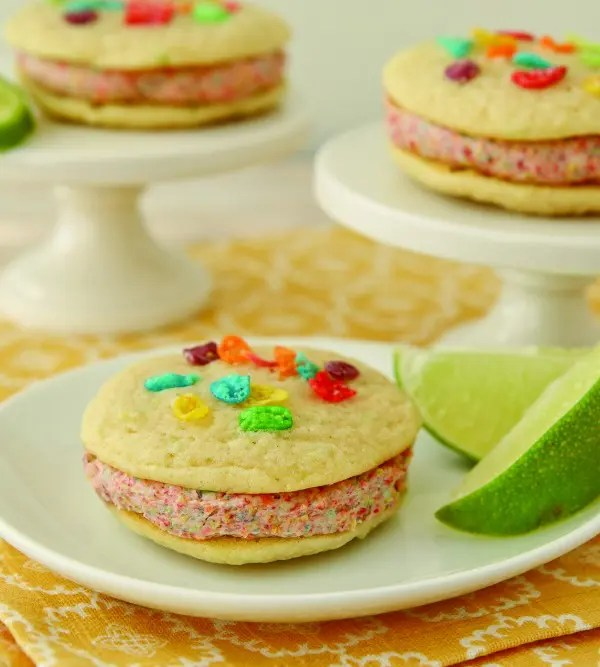 "Coconut Lime Rainbow Whoopie Pies Recipe - You will love the fun tropical flavors in these ""Coconut Lime Rainbow Whoopie Pies!"""