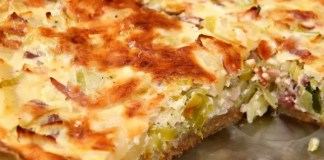 Corned beef quiche is a delicious way to use your corned beef leftovers.  A buttery pie crust is filled with eggs and studded with corned beef, gruyere cheese, and sauerkraut.
