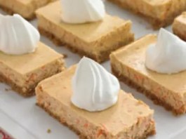 Carrot cake is often served at Easter celebrations but these carrot cheesecake bars will give it a run for its money.  They are easy to prepare and a guaranteed winner.