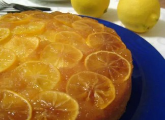A marmalade-like top (or is it bottom?) with overlapping lemon slices is a beautiful part of this scrumptious lemon upside down cake.