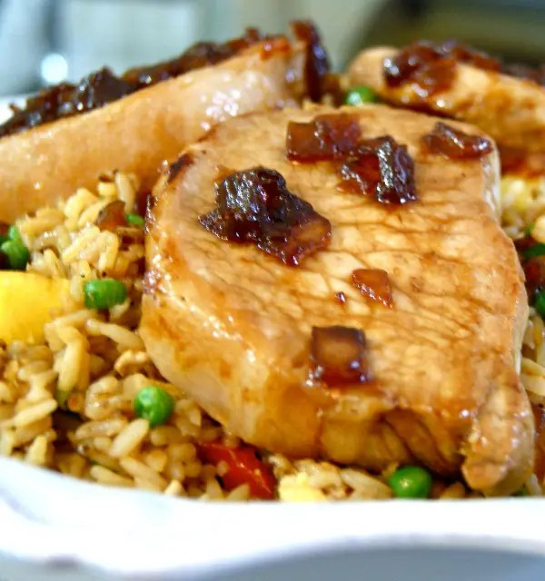 Sweet Soy Glazed Pork Chops with Pineapple Fried Rice