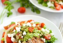 Recipe for Grilled Chicken Fajita Salad with Guacamole Dressing
