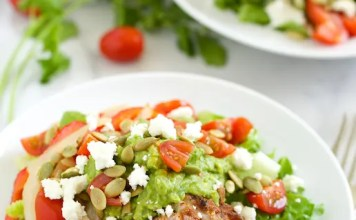 Recipe for Grilled Chicken Fajita Salad with Guacamole Dressing