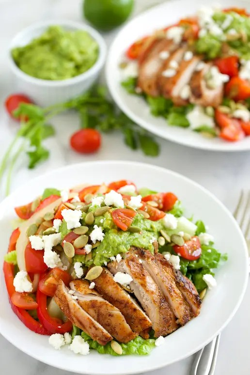 Grilled Chicken Fajita Salad with Guacamole Dressing