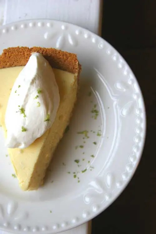 This Key Lime Pie is tart and citrusy. The whipped cream adds just the right amount of sweetness and the graham cracker crust lends the perfect crunch.