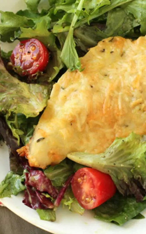 Parmesan-Crusted Chicken with Agurla Salad