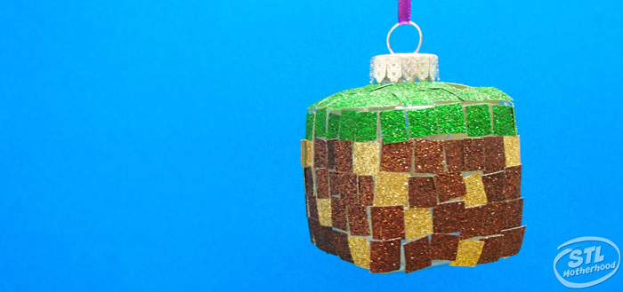 Minecraft grass block Christmas ornament craft