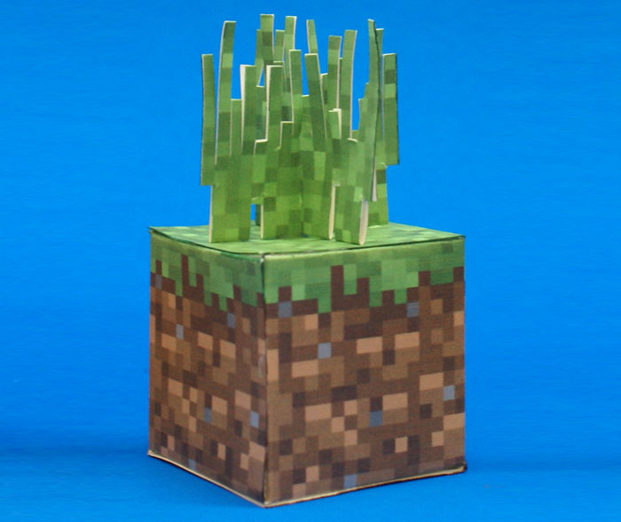 minecraft grass block paper