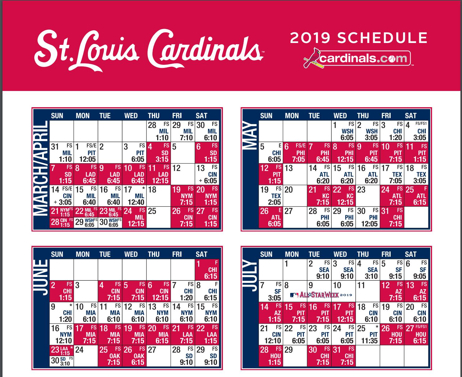 Cardinals Sched top 2019