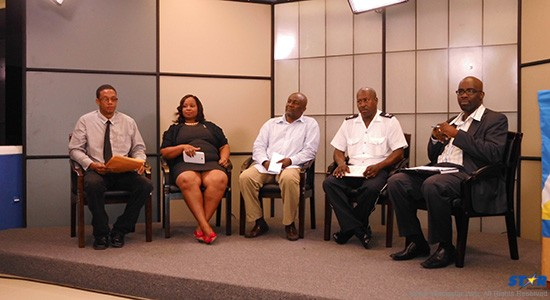 Independence 35 Committee: Christopher Hunte (far left), Drenia Frederick, Philip Sydney, Sgt Frederick and Darrel Montrope.