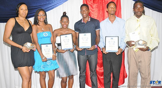Pictured from left to right are top volleyball players for 2013: Senior Volleyball Player of the Year Natalie Edward, Youth Player of the Year Skye Mondesir, Junior Female Player of the Year Dala Noel, Junior Male Player of the Year Augustin Faulkner, Youth Player of the Year Andre Marquis and Senior Male Volleyball Player of the Year Joseph Clercent.