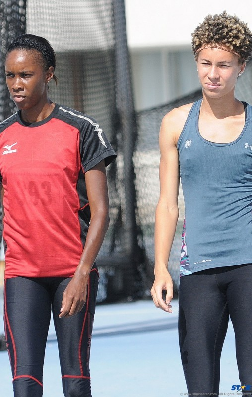 St Lucia's two prolific female high jumpers Levern Spencer (left) and Jeannelle Scheper. Are they friends, foes or bitter rivals?