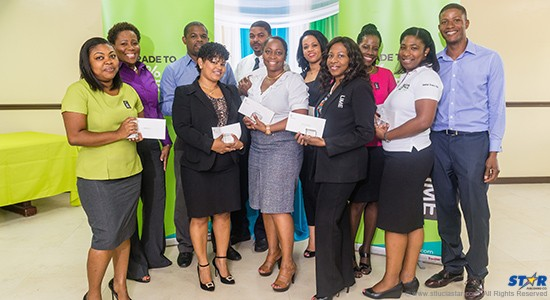 LIME longstanding employees pose with Geraldine Pitt (second from left) LIME CEO Southern Cluster.