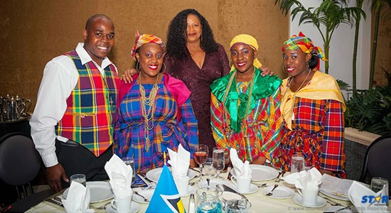 Ambassador Soomer with brightly attired guests at the recent Independence Gala in Florida.