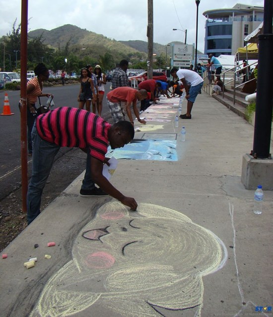 A scene from last year's sidewalk art event.