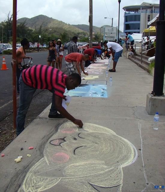 A scene from last year's sidewalk art event.