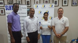 Cheque presentation at the offices of Jus' Sail.