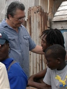 PM Kenny Anthony with Vieux Fort fire victims.