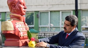 The President of Venezuela lays a wreath  at Bideu's park in Castries.