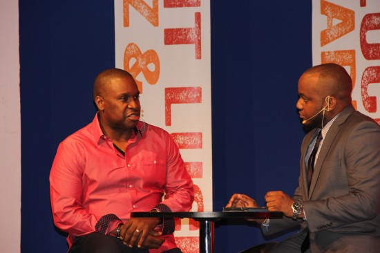 Director of Tourism Louis Lewis explains the Saint Lucia Jazz & Arts Festival rationale on Tuesday while being interviewed on stage by one of the evening's hosts, Shayne Ross.