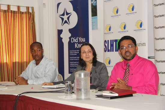 The SLHTA Executive (l-r): Sanovnik Destang, First Vice-President, President Karolin Troubetzkoy and Chief Executive Officer Noorani Azeez.