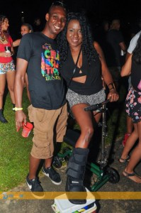 """Not even bodily injury would keep this feter away from """"Illusions"""" fete last week. (Photo: Triniscene)"""