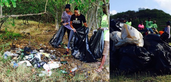 (Left) Recreational spots at Pigeon Island strewn with litter. (Right) Bags of garbage collected at Pigeon Island on Tuesday piled mountain high!