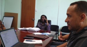 Emma Hippolyte in a meeting with the Chamber of Commerce.