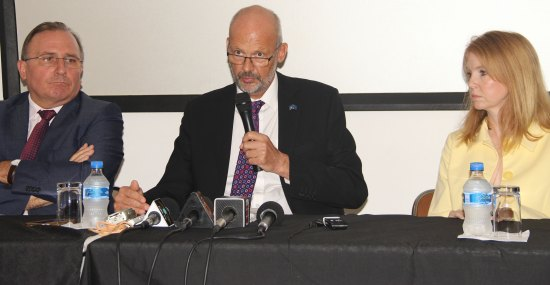 (Left) EU representatives: L-R Eric de La Moussaye, French Ambassador to the OECS; Mikael Barfod, EU Head of Delegation: Victoria Dean, British High Commissioner to Barbados and the Eastern Caribbean. (Right) PM Kenny Anthony: What might be his next move?