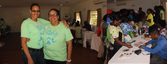 (Photo 1) One of the coordinators of the fair, Chanice John of Coconut Bay (left), with HR Director Dahlia Graham. (Photo 2)