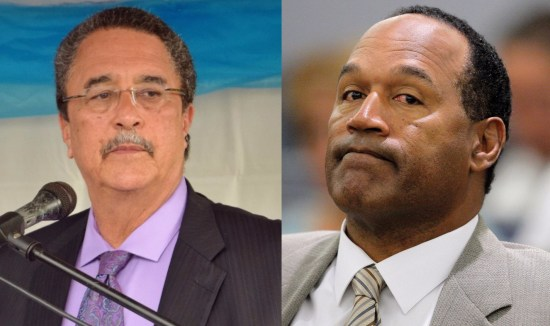 "(Left) Prime Minister Kenny Anthony: How much power can one man handle before he turns on the very people who empowered him? When will the SLP leader and PM clear the clouds of suspicion swirling around his head and those of candidates waiting for their turn at levers of power? (Right) Former sports and Hollywood superstar O.J. Simpson: His picture in the American Heritage Dictionary (third edition) identifies him as ""the first professional football player to rush more than 2,000 yards in a season."" There is no reference to the killer of his wife Nicole and her friend Ron Goldman!"