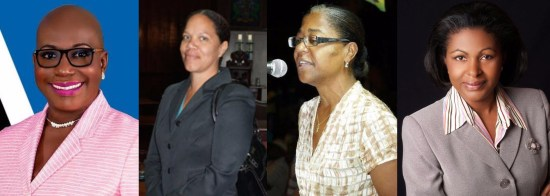 (From left to right) Opposition Leader Gale Rigobert, Jeannine Compton-Antoine, Mary Isaac, Sarah Flood-Beaubrun.