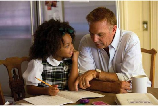 Jillian Estell, left, and Kevin Costner portray a grandfather and granddaughter in a scene from the movie 'Black or White'. Saint Lucians are facing a new reality of discussing grey areas of race relations, much like those addressed in the film.