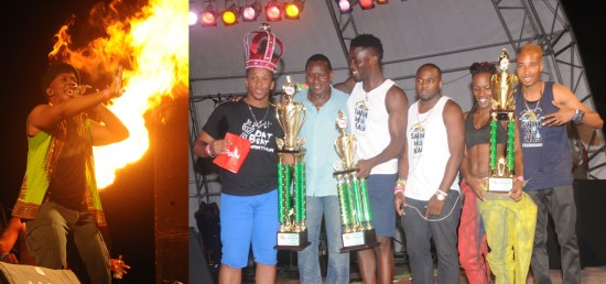 (Left) Groovy King serenading his subjects. (Right) Arthur Allain, Ezra D'Funmachine and Q-Pid receiving their trophies from Culture Minister Lenard Montoute.