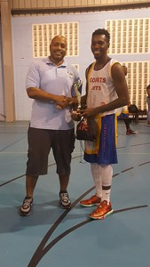 Finals Co-MVP Andre Louison with SLBF Pres