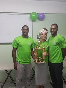 from (L-R) LA Coaches Marlon, Stefania and Peter with the 3rd place trophy - IM Strong Swim Meet