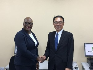 H.E. Douglas C.T. Shen together with Hon. Dr. Gale Rigobert at Micoud ICT Access Centre