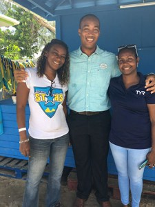 St. Lucia Stars Media Coordinator, Sue Monplaisir (l), ED - Bay Gardens Resorts, Sanovnik Destang (c), MD - Splash Island Water Park, J. Ward-Destang