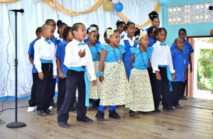 The Dugard RC Combined School Choir in full voice