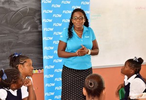 Ave Maria Primary students paying close attention to Adriana Mitchel-Gideon on International Internet Day