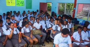 JetBlue Airways First Officer Neil Justin with Students