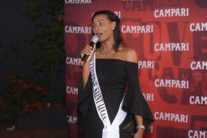 Ms Universe St Lucia Louise Victor addresses the gathering at the welcome reception for new Campari brand ambassador Bunji Garlin
