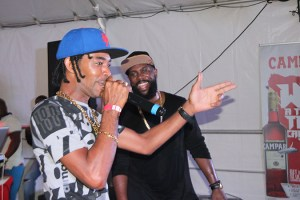 Ricky T and Bunji Garlin in a friendly freestyle battle