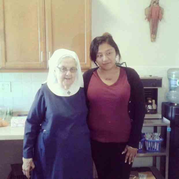 Liz with a nun!